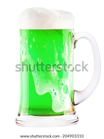 green beer isolated on a white background, classic St. Patricks day beverage