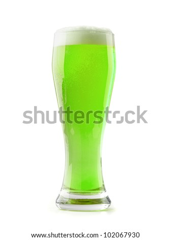 green beer with a foamy head on a white background - stock photo