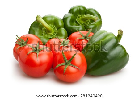 green bell pepper and tomato isolated - stock photo