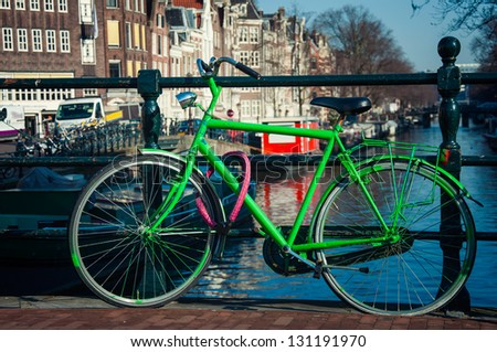 green bicycle in Amsterdam