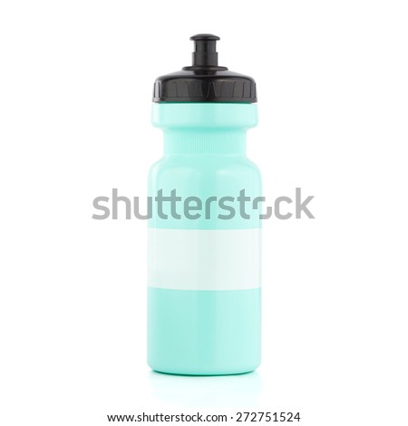 Green Bicycle water bottle with white striped isolated on white - stock photo
