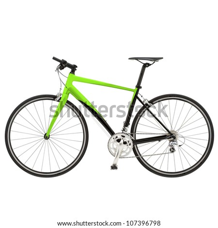 Green bike detail isolated on white background - stock photo