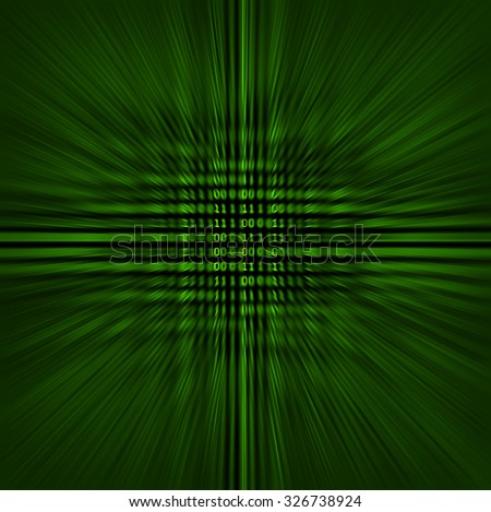 Green binary code on a black background blurred to represent speed or quickly changing technologies.