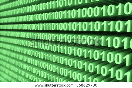 Green binary code wall with depth of field
