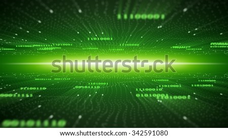 green binary cyberspace. computer generated abstract background  - stock photo