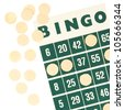 Green bingo card isolated on a white background - stock photo