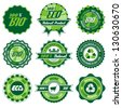 green bio, eco, organic label set with differently varied modern, vintage elements - stock photo