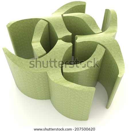 Green biohazard radiation symbol in isolated background, create by 3D  - stock photo