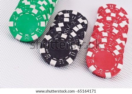 Green, Black and Red Poker Chips