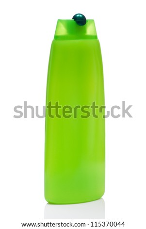 green blank bottle for shampoo, isolated on white background - stock photo