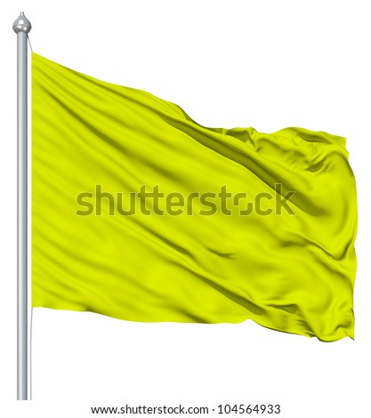 Green blank flag with flagpole waving in the wind against white background