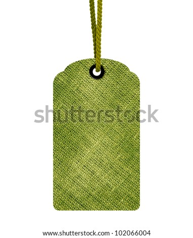 Green blank price tag isolated on white background with copy space and path. - stock photo
