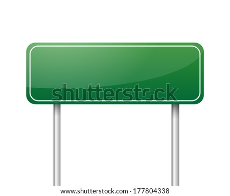 Green blank road sign - stock photo