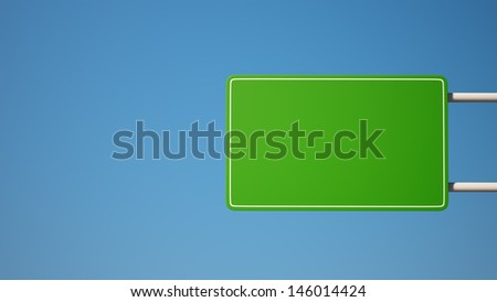 Green Blank Sign with Clipping Path