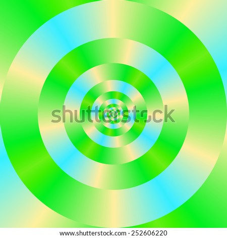 Green Blue and Yellow Concentric Circles / A digital abstract fractal image with a concentric ring pattern in green, blue and yellow. - stock photo