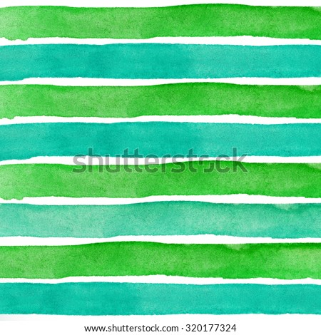 Green blue Watercolor hand painted brush strokes, striped background - stock photo