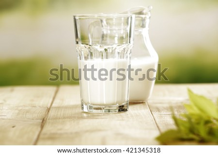 green blurred background and milk  - stock photo