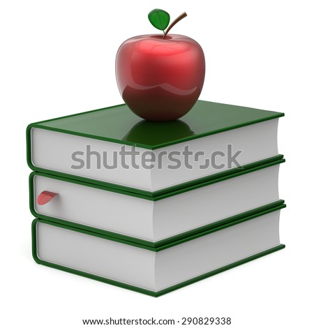 Green books textbook stack blank bookmark red apple education studying reading learning school college knowledge literature idea icon concept. 3d render isolated on white - stock photo