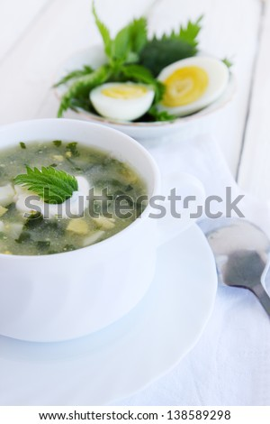Green borsch with nettles, sorrel and boiled eggs - stock photo
