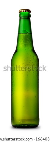 Green bottle of beer and drops isolated on white background