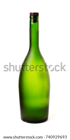 Green bottle of champagne isolated on a background