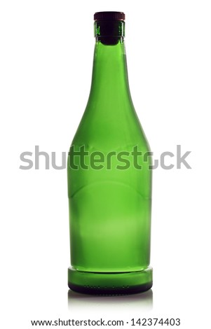 Green bottle of cognac on a white background.