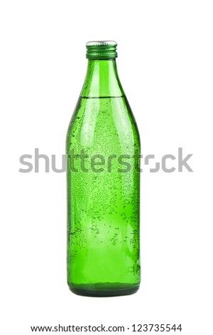 green bottle of soda water - stock photo