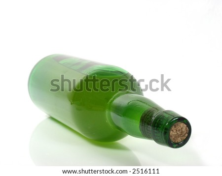 green bottle of wine isolated on white background