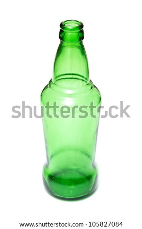 green bottle on a white background - stock photo