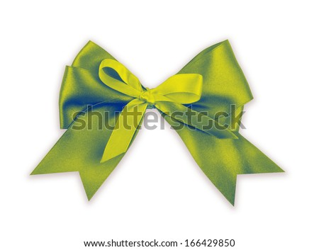Green bow isolated on white background. - stock photo