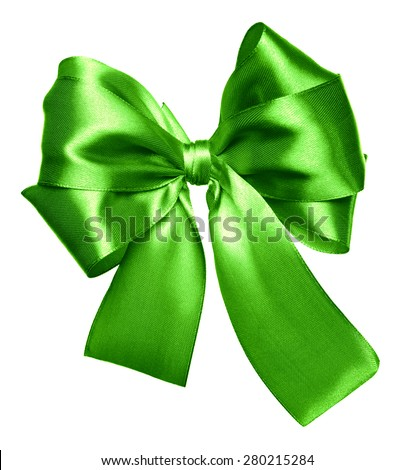 green bow made from silk isolated - stock photo