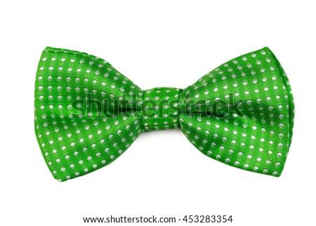 Green bow tie Isolate on white - stock photo