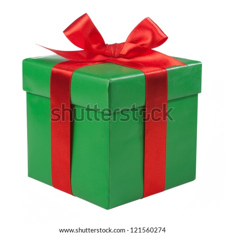 Green box red bow and ribbon - stock photo
