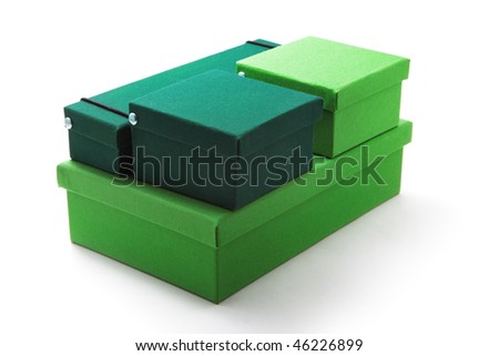 Green boxes isolated on white