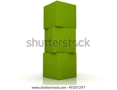 Green boxes stacked - stock photo
