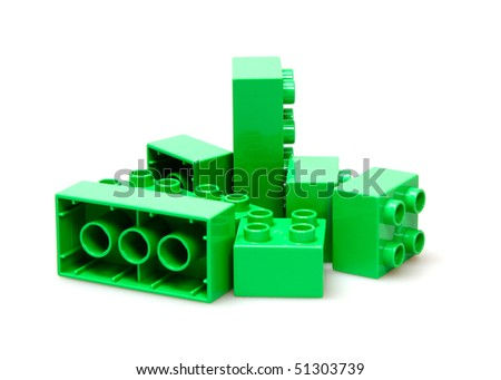 green bricks isolated on white - stock photo