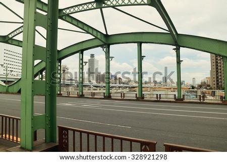 Green Bridge of Sumida park on August 18, 2015  in Tokyo, Japan. - stock photo