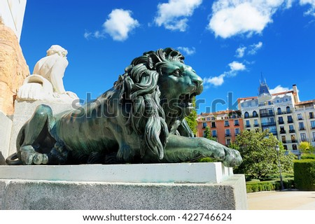 Green Bronze Lion  in Madrid - stock photo