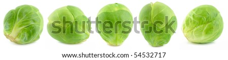 Green brussel sprouts isolated on white background - stock photo