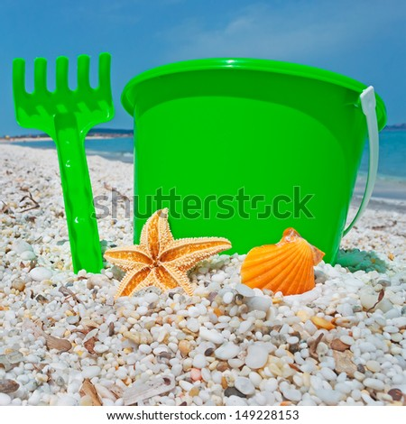 green bucket and starfish by the shore in Sardinia