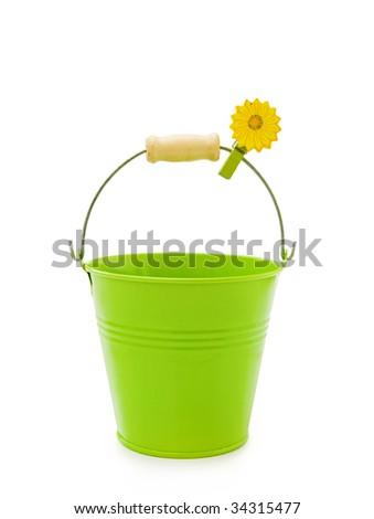 Green bucket on white - stock photo