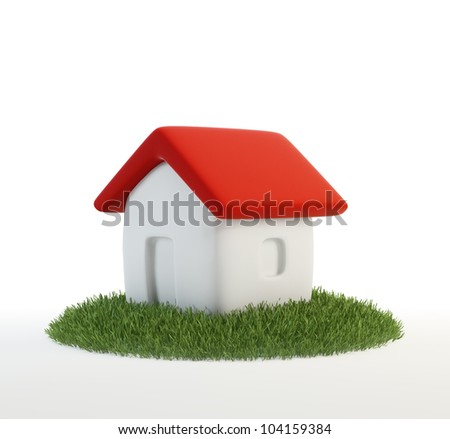 Green building concept - small cartoon home on a patch of grass - stock photo