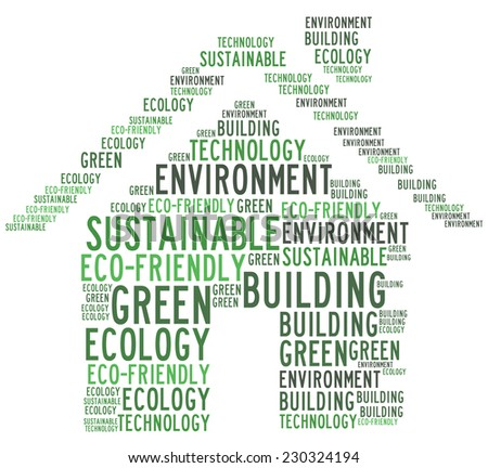 Green building related words collage - stock photo