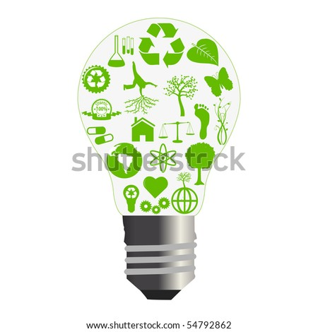 Green Bulb Concept. EPS available in my portfolio. - stock photo