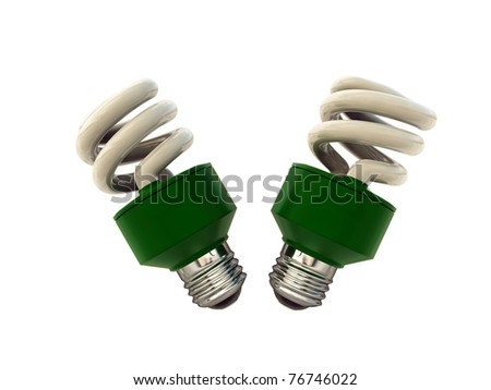 green bulbs isolated on white background