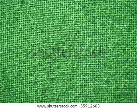 Green burlap fabric closeup for texture and backgrounds
