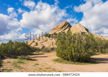 Green bushes grow tall in the midst of California's Mojave Desert. - stock photo