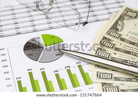green Business Charts Green with calculator, Dollar Money, Glasses and pen - stock photo