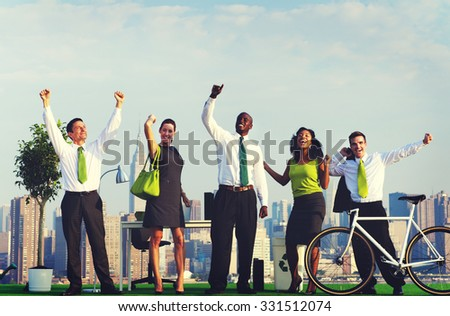 Green Business People Celebrating Successful Concept - stock photo