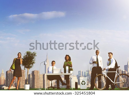 Green Business People Ecology Environmental Conservation Concept - stock photo